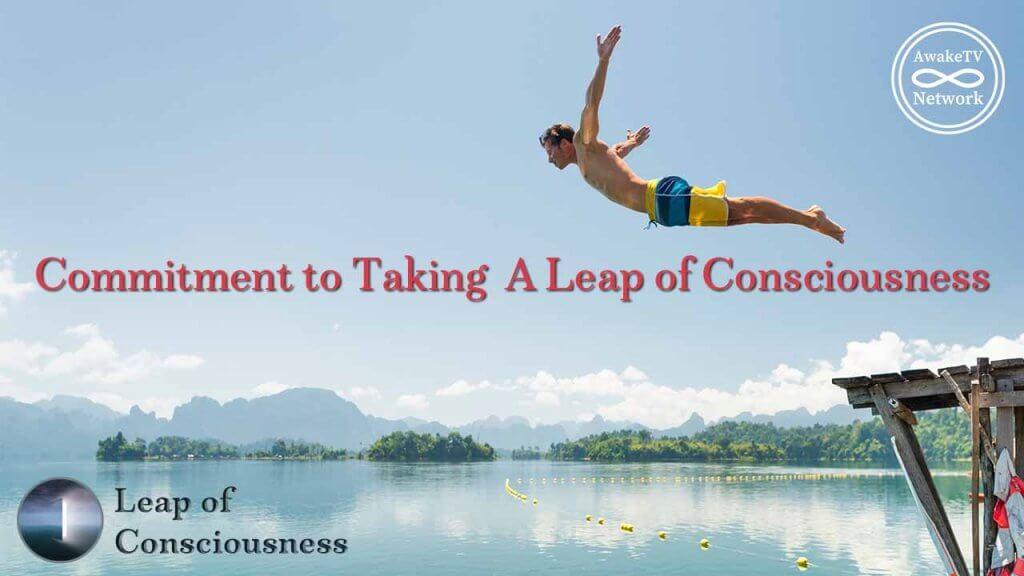 This is an advert for the AwakeTV Network show Leap of Consciousness with hosts Annie Kolatkar and Ashley Lee.