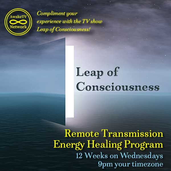 This is an advert for Leap of Consciousness Remote Transmission Energy Healing Program on Wednesday nights at 9PM.